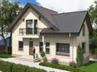 Проект одноэтажного жилого дома с мансардой, террасой и балконами